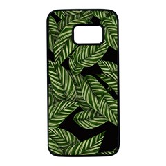 Tropical Leaves On Black Samsung Galaxy S7 Black Seamless Case
