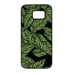 Tropical Leaves On Black Samsung Galaxy S7 Edge Black Seamless Case