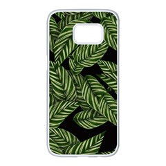Tropical Leaves On Black Samsung Galaxy S7 Edge White Seamless Case