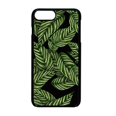 Tropical Leaves On Black Apple Iphone 7 Plus Seamless Case (black)