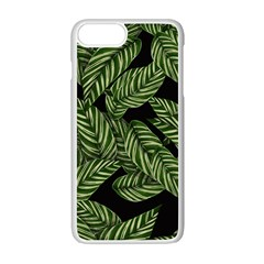Tropical Leaves On Black Apple Iphone 7 Plus Seamless Case (white)