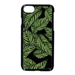 Tropical Leaves On Black Apple Iphone 7 Seamless Case (black)