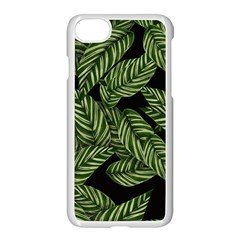 Tropical Leaves On Black Apple Iphone 7 Seamless Case (white)