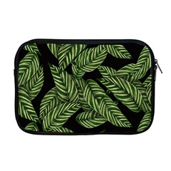Tropical Leaves On Black Apple Macbook Pro 17  Zipper Case