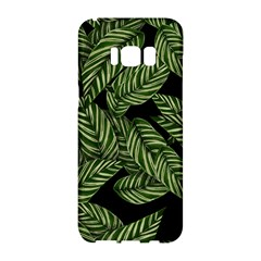 Tropical Leaves On Black Samsung Galaxy S8 Hardshell Case