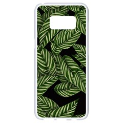 Tropical Leaves On Black Samsung Galaxy S8 White Seamless Case by vintage2030