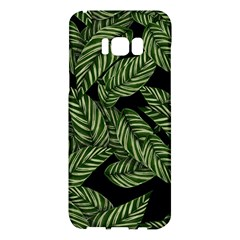Tropical Leaves On Black Samsung Galaxy S8 Plus Hardshell Case