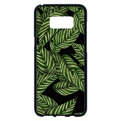 Tropical Leaves On Black Samsung Galaxy S8 Plus Black Seamless Case