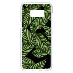 Tropical Leaves On Black Samsung Galaxy S8 Plus White Seamless Case