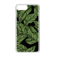 Tropical Leaves On Black Apple Iphone 8 Plus Seamless Case (white)