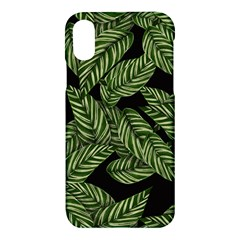 Tropical Leaves On Black Apple Iphone X Hardshell Case