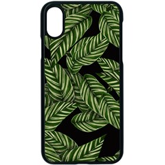 Tropical Leaves On Black Apple Iphone X Seamless Case (black)