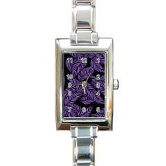 Tropical Leaves Purple Rectangle Italian Charm Watch