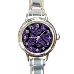 Tropical Leaves Purple Round Italian Charm Watch