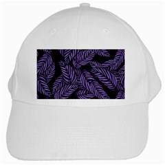 Tropical Leaves Purple White Cap