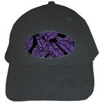 Tropical Leaves Purple Black Cap Front