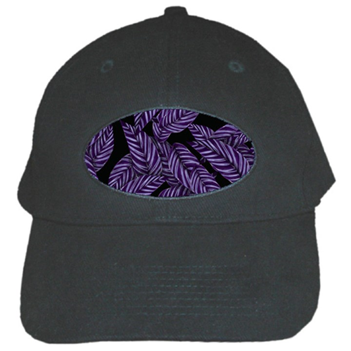 Tropical Leaves Purple Black Cap
