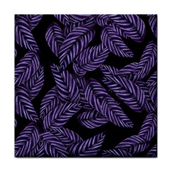 Tropical Leaves Purple Tile Coasters