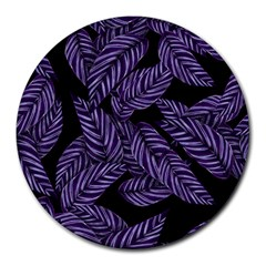Tropical Leaves Purple Round Mousepads
