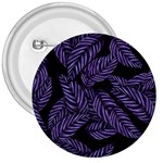 Tropical Leaves Purple 3  Buttons Front