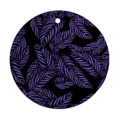 Tropical Leaves Purple Ornament (round)