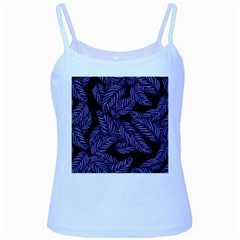 Tropical Leaves Purple Baby Blue Spaghetti Tank