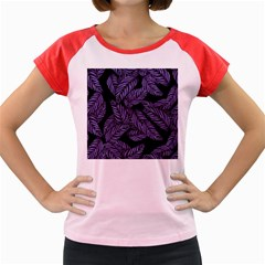 Tropical Leaves Purple Women s Cap Sleeve T Shirt