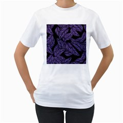 Tropical Leaves Purple Women s T Shirt (white) (two Sided)