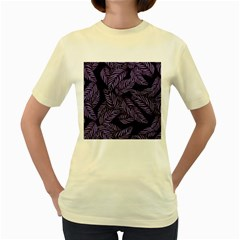 Tropical Leaves Purple Women s Yellow T Shirt