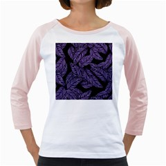 Tropical Leaves Purple Girly Raglan