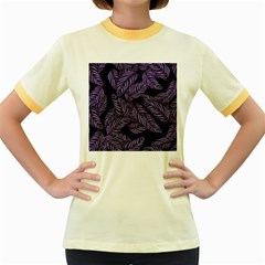 Tropical Leaves Purple Women s Fitted Ringer T Shirt