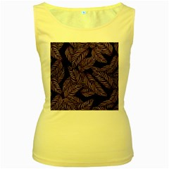 Tropical Leaves Purple Women s Yellow Tank Top