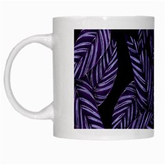 Tropical Leaves Purple White Mugs