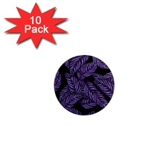 Tropical Leaves Purple 1  Mini Magnet (10 Pack)