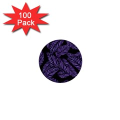 Tropical Leaves Purple 1  Mini Buttons (100 Pack)
