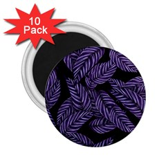 Tropical Leaves Purple 2 25  Magnets (10 Pack)