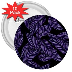 Tropical Leaves Purple 3  Buttons (10 Pack)