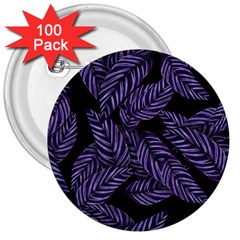 Tropical Leaves Purple 3  Buttons (100 Pack)