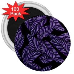 Tropical Leaves Purple 3  Magnets (100 Pack)