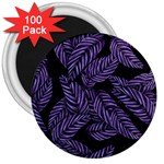 Tropical Leaves Purple 3  Magnets (100 pack) Front