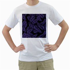 Tropical Leaves Purple Men s T Shirt (white) (two Sided)