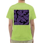 Tropical Leaves Purple Green T-Shirt Back