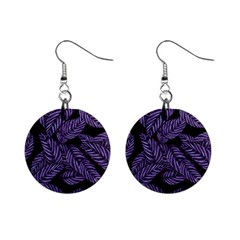 Tropical Leaves Purple Mini Button Earrings