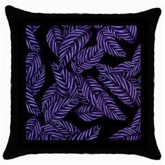 Tropical Leaves Purple Throw Pillow Case (black)