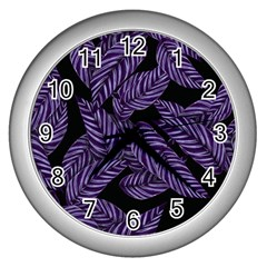 Tropical Leaves Purple Wall Clock (silver)