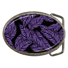 Tropical Leaves Purple Belt Buckles