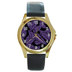 Tropical Leaves Purple Round Gold Metal Watch