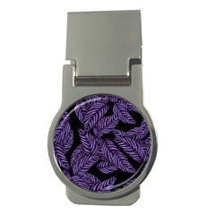 Tropical Leaves Purple Money Clips (round)