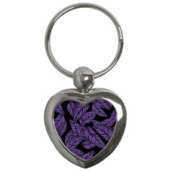 Tropical Leaves Purple Key Chains (heart)