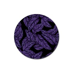 Tropical Leaves Purple Rubber Coaster (round)